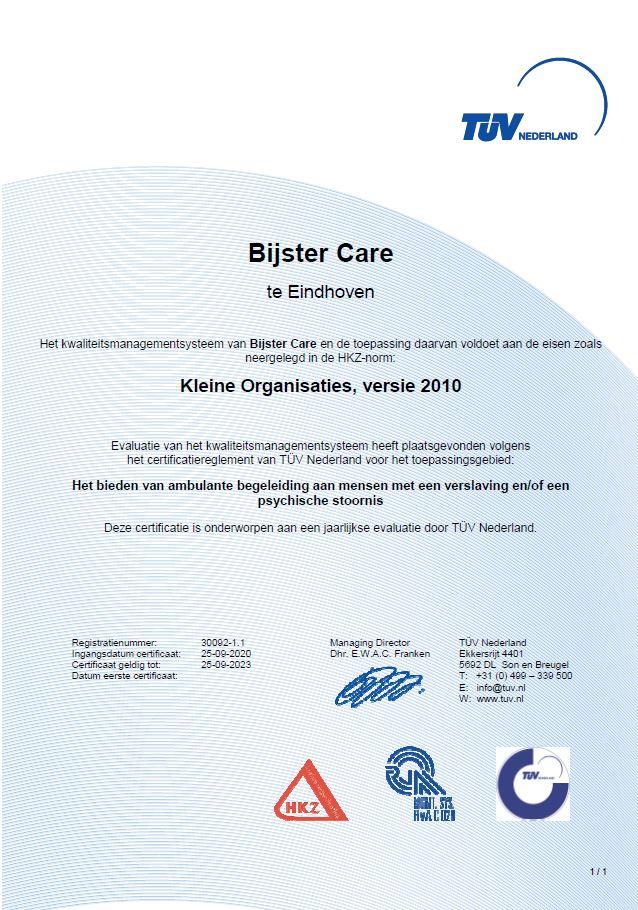 HKZ certificaat Bijster Care